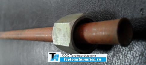 Распродажа Трубка D=10мм импульсная медная L=500мм с гайкой М16.